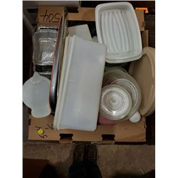 BOX OF TUPPERWARE + OTHER PLASTIC DISHES