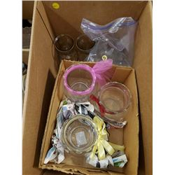 BOX OF CLEAR GLASS (VASES, BOWLS, ETC)
