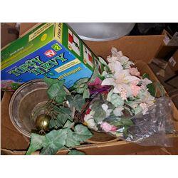 BOX OF FLOWER POTS, FLOWERS, ETC
