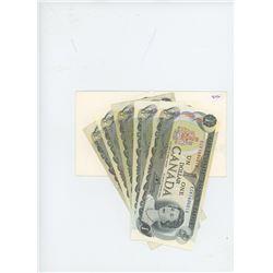 Lot of 5 - Canadian $1 Bills