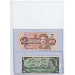 1-1967 Canadian $1 Bill & 1-1986 Canadian $2 Bill