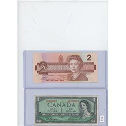 1-1954 Canadian $1 Bill & 1-1986 Canadian $2 Bill