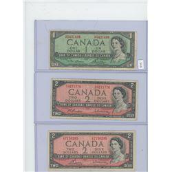 1-1954 Canadian $1 Bill & 2-1954 Canadian $2 Bills