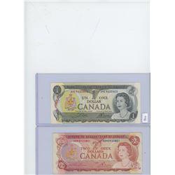1-1973 Canadian $1 Bill & 1-1974 Canadian $2 Bill