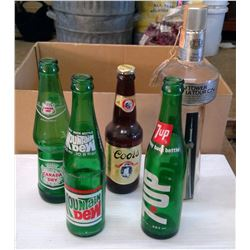Lot of Old Glass Bottles - 7Up, M.Dew, C. Dry, Coors