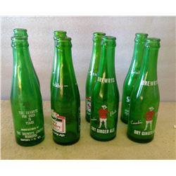 Lot of Old Glass Bottles - Stubby Pop - Green