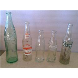 Lot of Old Glass Bottles - Coca Cola, Crush, Hires