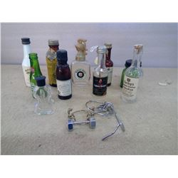 Lot of Old Glass Bottles - Assorted Minis & Wine Toppers