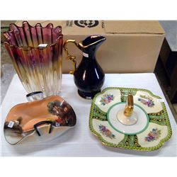 Lot of Glassware - Vase, Pitcher, Serving Dishes