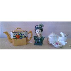 Lot of Glassware - S&P Shakers, Figurine, Teapot