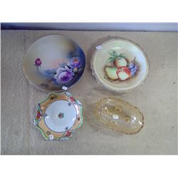 Lot of Glassware - Decorative Plate, Saucers, Candy Dish…