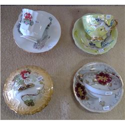 Lot of Glassware - 3 Teacups w Saucers, Candy Dishes