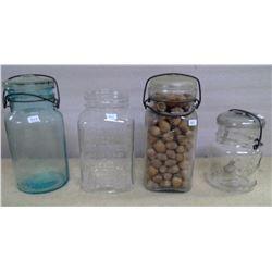 Lot of Old Glass Jars - 4 - 1 Missing Lid