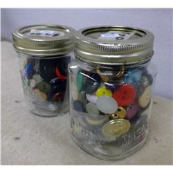 Lot of 2 Glass Jars of Buttons
