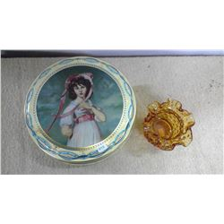 Lot of Old Tin & Glass Dish