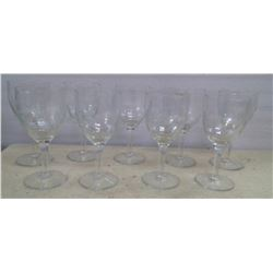 Lot of 9 Matching Wine Glasses