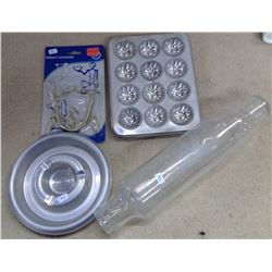 Lot of Kitchenware - Glass Rolling Pin, Muffin Tins, Etc.
