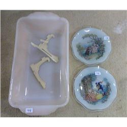 Lot of 2 Mini Decorative Plates & Glass Loaf Dish
