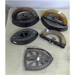 Lot of 3 Sad Irons (1 Handle needs work) & 1 Trivet