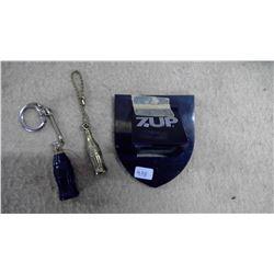 2 Coca Cola Keychains & 7Up Bottle Opener