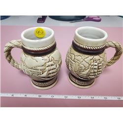 2 small steins (one handle repaired)