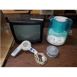 LOT OF HOME ELECTRONICS (HUMIDIFIER, TV, HAIR DRYER)