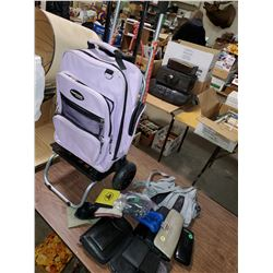TWO LUGGAGE CARTS, WALLETS, PURSES