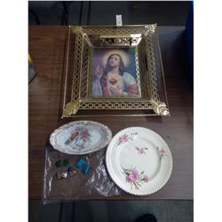 3D Religious Display, 2 Dishes, Earrings and Small Box Cutter
