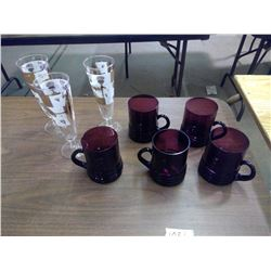 Lot of (5) Purple Mugs and (3) Champagne Glasses