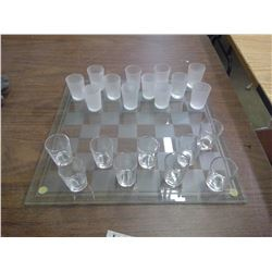 Glass Checkers Board w/ Shot Glasses (missing a few glasses)