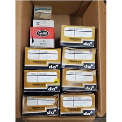 BOX OF SPARE VEHICLE PARTS (GM, DOMINION, MOPAR, ETC)