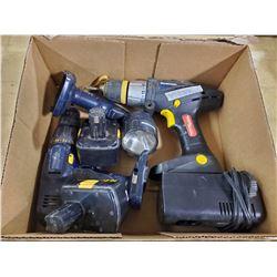 Craftsman 14.4 V drill, flashlight, charger (batteries dead) & 18 volt drill (no battery)