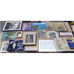 Lot of Old Pictures & Frames