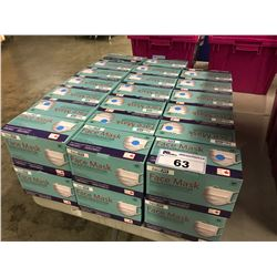PALLET OF 3 PLY STANDARD ANTIBACTERIAL DISPOSAL FACE MASKS. THE PALLET CONTAINS 15 BOXES THAT