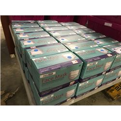 PALLET OF 3 PLY STANDARD ANTIBACTERIAL DISPOSAL FACE MASKS. THE PALLET CONTAINS 18 BOXES THAT