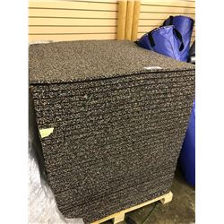 PALLET OF 648 SQ FT.OF BLACK AND ROSE RUBBER GYM FLOORING