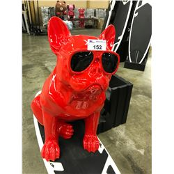 RED  FRENCH BULLDOG WITH SUNGLASSES STATUE 40  TALL