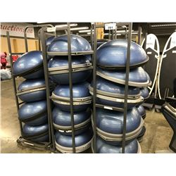 LOT OF 17 BOSU BALLS WITH MOBILE RACK