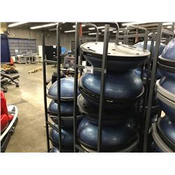 LOT OF 15 BOSU BALLS WITH MOBILE RACK