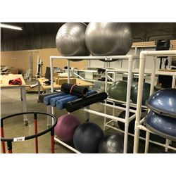 LOT OF 5 YOGA BALLS AND 5 MASSAGE ROLLS  WITH MOBILE PVC RACK