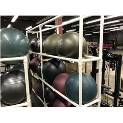 6 BAY WHITE PVC WHITE  RACK WITH 13 YOGA BALLS