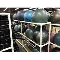 4 BAY WHITE PVC WHITE  RACK WITH 9 YOGA BALLS