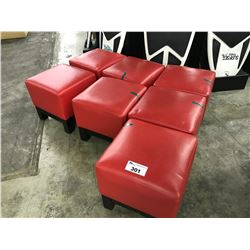 7 MODERN SQUARE RED RECEPTION STOOLS