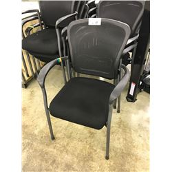 BLACK MESH BACK STACKING CLIENT CHAIR