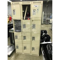 12 COMPARTMENT STORAGE LOCKER AND CONTENTS