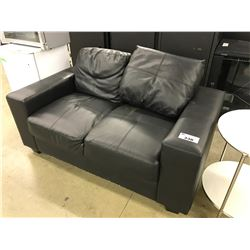 BLACK 2 SEAT SOFA AND SIDE TABLE WITH OTTOMAN/COFFEE TABLE