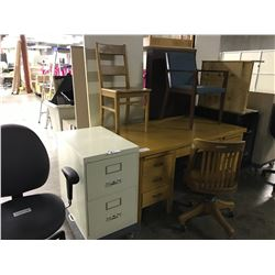 LARGE LOT OF MISC. OFFICE FURNITURE INCLUDING DESKS, CHAIRS AND FILE CABINETS