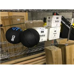 LOT OF MEDICINE BALLS, BULGARIA BAGS AND MISC. WEIGHT BARS