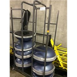 LOT OF 11 BOSU BALLS WITH MOBILE RACK