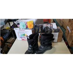 2 BOXES OF NEW, POSTURE STRAIGHTENERS, KIDS HAIRBANDS, SHOES, AND NEW BOOTS